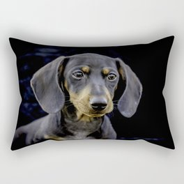 Black and Tan Dachshund Puppy Looking off into the Distance on a Black Background Rectangular Pillow