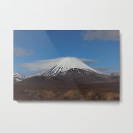 Capped Mt Ngauruhoe New Zealand Metal Print