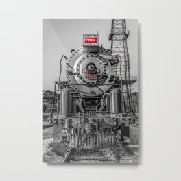 Frisco Locomotive 4500 The Meteor Selective Color Isolation Red Vintage Steam Engine Metal Print