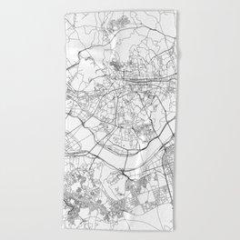 Seoul White Map Beach Towel