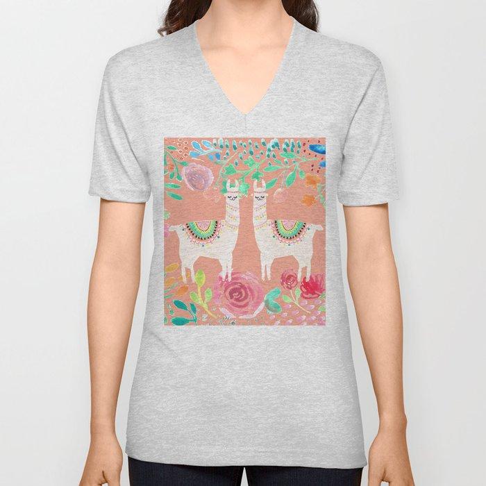 Llama in a floral frame Unisex V-Neck