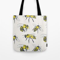 bees Tote Bags featuring Bees by Tracie Andrews