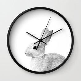 White Baby Bunny #1 #decor #art #society6 Wall Clock