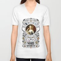 marie antoinette V-neck T-shirts featuring Ornate Marie Antoinette by Ryan Huddle House of H