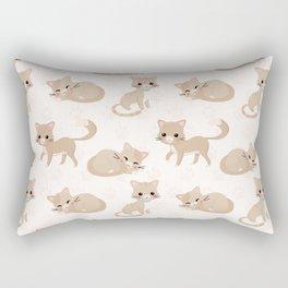Ragdoll Cats Pattern – Cream Paw Print Background Rectangular Pillow