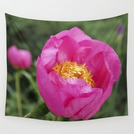 Peony Firelight - glowing pink petals Wall Tapestry