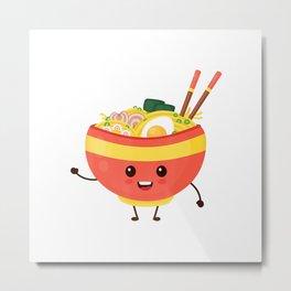 Funny Ramen Noodles Bowl Anime T-Shirt Metal Print