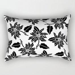 Black white modern vector poinsettia floral pattern Rectangular Pillow