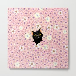 Black Cat Cherry Blossoms  Metal Print