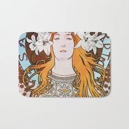 Alphonse Mucha Sarah Bernhardt Vintage Art Nouveau Bath Mat