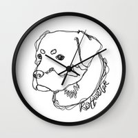 rottweiler Wall Clocks featuring Rottweiler #1 by Just Like A Breeze