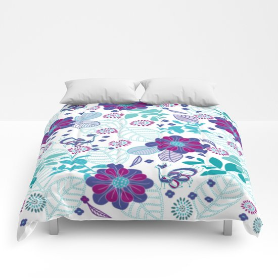 Purplish Peacocks Comforters