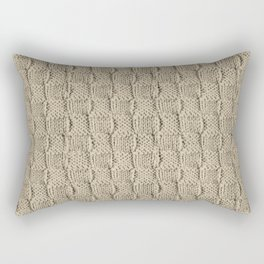 Sepia Knit Textured Pattern Rectangular Pillow