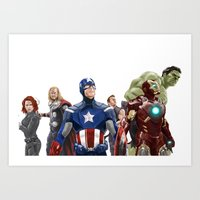 avenger Art Prints featuring Avenger by Carrillo Art Studio