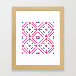 Modern hand painted geometrical pink blue watercolor Framed Art Print