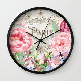 Paris Flower Market III Wall Clock