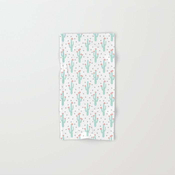 White Cactus Flowers triangle geometric kids fun southwest tribal socal hipster pattern desert print Hand & Bath Towel