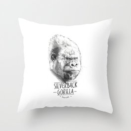 SILVERBACK GORILLA Throw Pillow