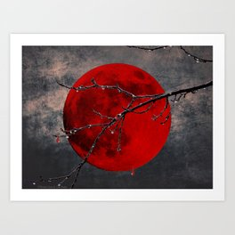 Modern Blood Red Moon Rain Gothic Decor A175 Art Print