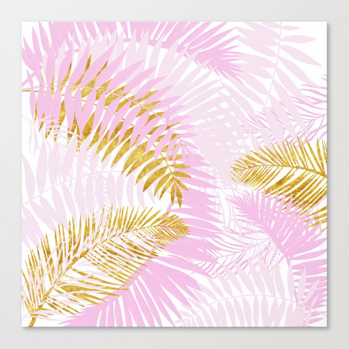 Aloha Pink Tropical Palm Leaves And Gold Metal Foil Leaf Garden Canvas Print By Originalaufnahme Society6 Beautiful leaves of tropical plants calathea, caladium, ficus and others, painted by hand, watercolors and scanned in good quality. aloha pink tropical palm leaves and gold metal foil leaf garden canvas print by originalaufnahme