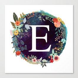 Personalized Monogram Initial Letter E Floral Wreath Artwork Canvas Print