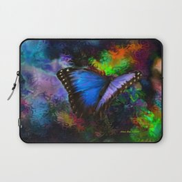 Blue Morpho Butterfly With Many Colors By Annie Zeno  Laptop Sleeve