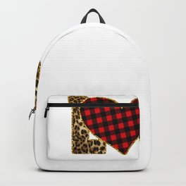 Galentines Day Leopard Print Love Buffalo Plaid Heart Valentines Day Backpack