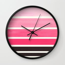 Pink Minimalist Mid Century Modern Color Fields Ombre Watercolor Staggered Squares Wall Clock