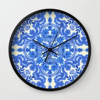 bedding Wall Clocks featuring Cobalt Blue & China White Folk Art Pattern by micklyn
