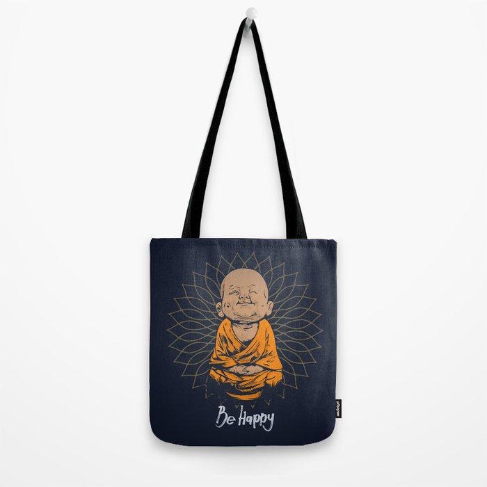 Be Happy Little Buddha Tote Bag