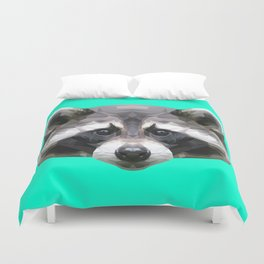 Raccoon // Mint Duvet Cover