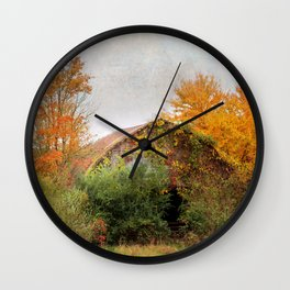 Autumn Covered Barn Wall Clock