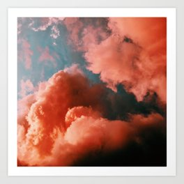 Orange and blue abstract clouds Art Print