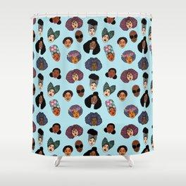 Black Hair Magic - Blue Shower Curtain
