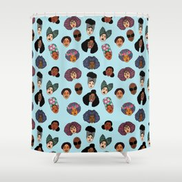 Black Hair Magic - Blue Shower Curtain