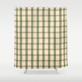 Farmhouse Rustic Jagged Edge Plaid Shower Curtain
