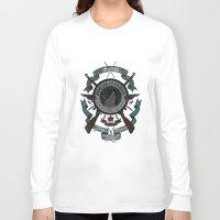 bucky Long Sleeve T-shirts featuring Sgt Bucky Barnes (blue) by emptystarships