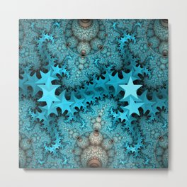 Cute blue stars and decorative orbs, fractal abstract Metal Print