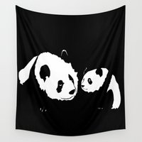 pandas Wall Tapestries featuring Pandas by Elena Medero