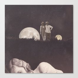 Moon on a meadow vintage 1920s Canvas Print