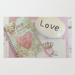 Shabby Chic Love Romantic Decor - Love Skeleton Key Prints Home Decr Rug