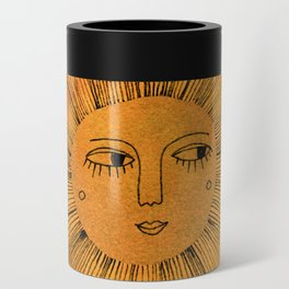 Sun Drawing Gold and Pink Can Cooler