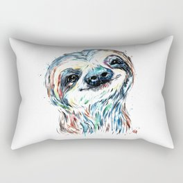Smiling sloth baby colorful watercolor painting Rectangular Pillow