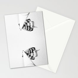 4 flag poles, black and white Stationery Cards