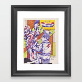 """The day Joe Smiley ate a bad Hotdog"" Framed Art Print"