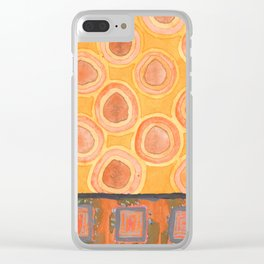 Flying Orange Circles Clear iPhone Case