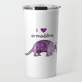 I HEART ARMADILLOS   I love armadillos illustration in purple Travel Mug
