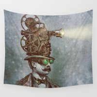 humor Wall Tapestries featuring The Projectionist (colour option) by Eric Fan