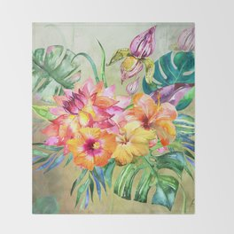 Tropical Hibiscus Garden Throw Blanket