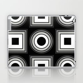 Fade To Black - Abstract, black and white, geometric, 3D effect artwork Laptop & iPad Skin